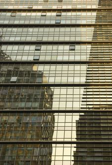 Buildings Reflected In An Office Building. Stock Photos