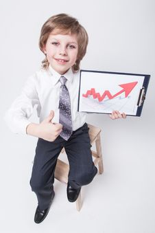 Free Successful Businessman Shows A Graph Of Profit Growth Stock Photos - 47927033