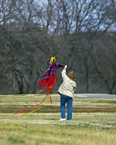 Free Kite Flying Mom Stock Photo - 482500