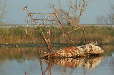 Free Sunken Shrimp Boat Royalty Free Stock Photography - 485397