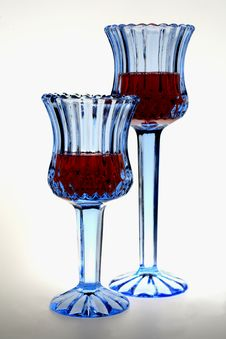 Free Two Blue Wine Glasses Stock Image - 485541