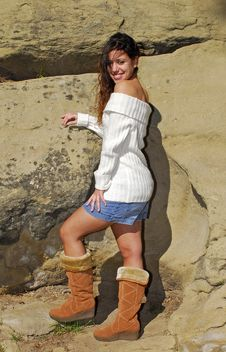 Young Woman In Boots Stock Photo