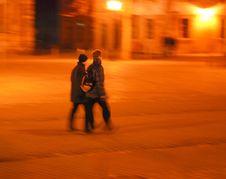 Free Couple Walking Over Cobblestone Pavement Stock Photo - 488830