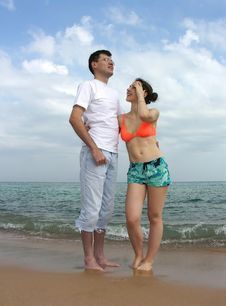 Couple On Beach Stock Images