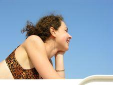 Girl On Sky On Beach Royalty Free Stock Photo