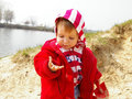 Free Little Girl Plays On Coast Of Lake Royalty Free Stock Photos - 4808468