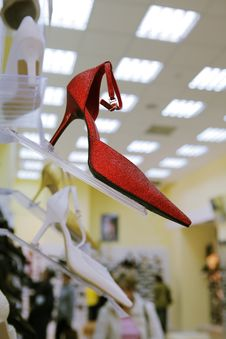 Fashionable Red Shoe Stock Photography
