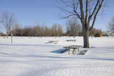 Free Picnic Benches Buried In The Snow Stock Image - 4807401