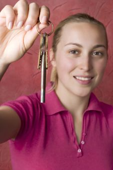 Free Woman With Keys Royalty Free Stock Image - 4808186