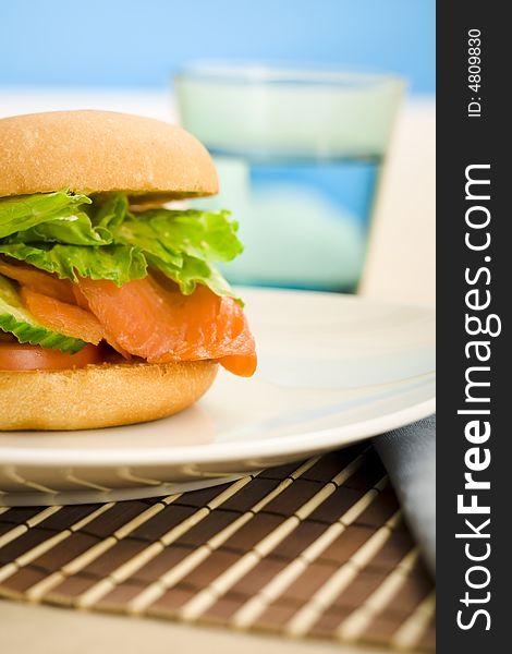 Breakfast salmon bagel