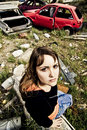 Free Young Woman In The Scrapyard Stock Images - 4813024