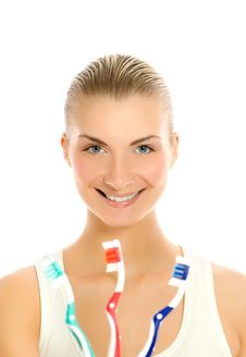 Free Woman With Toothbrushes Royalty Free Stock Photo - 4810295
