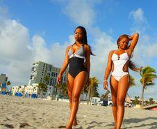 Women Walking On The Beach Royalty Free Stock Image
