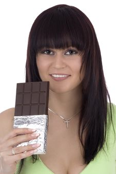 Free Woman With A Chocolate Stock Photography - 4811042