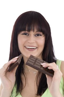 Free Woman With A Chocolate Royalty Free Stock Photos - 4811218