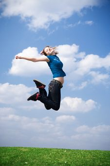 Free The Happy Jumping Girl Stock Photo - 4811570