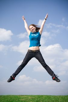 Free The Happy Jumping Girl Royalty Free Stock Photo - 4811595