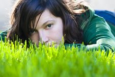Free Young Woman In The Grass Royalty Free Stock Photos - 4811698