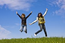 Free Young Friends Jumping Stock Images - 4812394