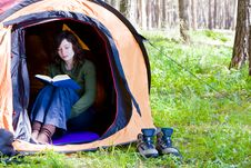 Free Reading In The Forest Royalty Free Stock Photo - 4812625