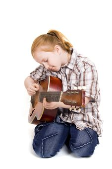 Free Girl Playing On A Guitar Stock Photography - 4813082