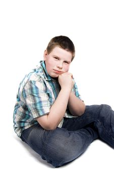 Free Young Boy Is Thinking Royalty Free Stock Image - 4813096