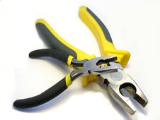 Free The Big And Small Flat-nose Pliers On A White Back Stock Photography - 4815542