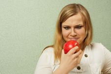 Free The Girl & Red Apple Stock Photography - 4816912