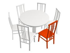 Free One Red Chair In A Row Of White Chairs Stock Image - 4817141