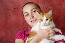 Free Girl And Cat Stock Photography - 4817612