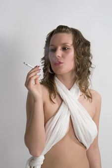 Free Sexy Girl Smoking A Cigar Royalty Free Stock Photos - 4817798