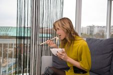 Free Woman Eating Chinese Food Royalty Free Stock Image - 4818606