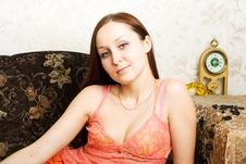 Free Young Woman Lying On The Sofa Stock Photo - 4818610