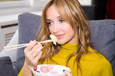 Free Woman Eating Chinese Food Stock Photo - 4818700