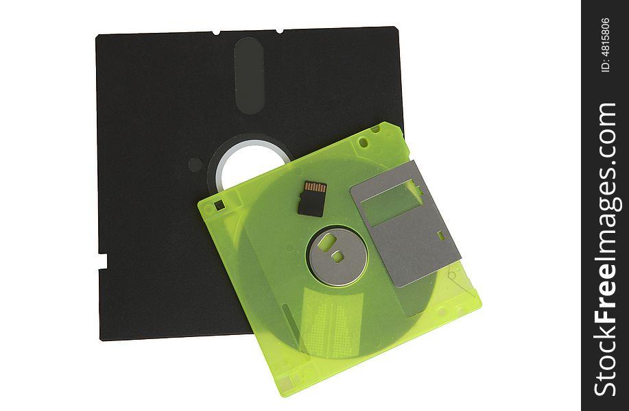 Floppy disks flash drive on white