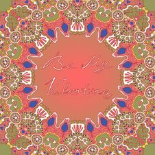 Free Valentines Day Card With Abstract Ornament Vector Royalty Free Stock Images - 48146269