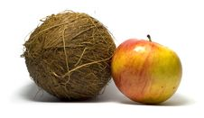 Free Coconut And Apple Stock Photography - 4821692