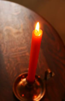 Free Burning Candle In Candlestick. Stock Photos - 4822553
