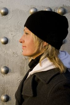 Free The Blonde On A Background Of A Silvery Wall Stock Photography - 4823412