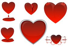 Free Hearts On A White Background Stock Photo - 4823650