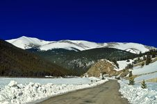 Free A Snowy Road In Colorado During Winter Stock Photo - 4823980