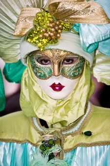 Free Venetian Costume With Red Lips Royalty Free Stock Image - 4823986