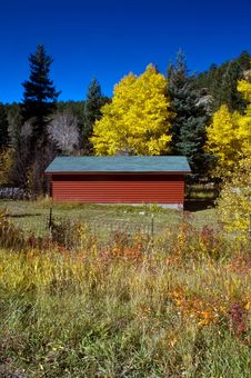 Red Country Barn And Autumn Trees Royalty Free Stock Images