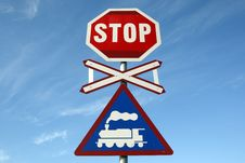 Free Railway Crossing Stop Sign Stock Photos - 4824363