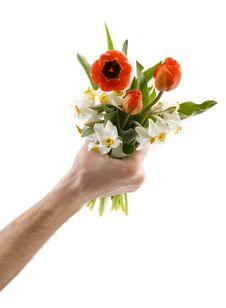 Free Man Holding Bouquet Stock Photography - 4824632