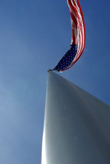Free American Flag On An Aluminum Flagpole Stock Photo - 4825910