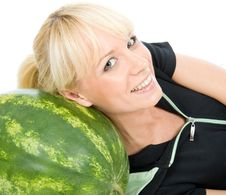 Lie On Water-melon Royalty Free Stock Photography