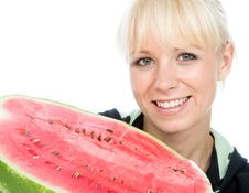 Fruit-grower Hold On A Water-melon Royalty Free Stock Images