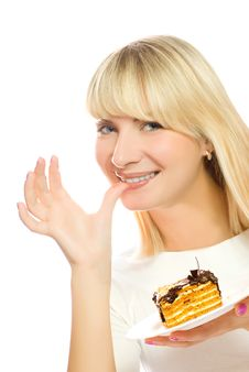 Free Woman With Chocolate Cake Stock Image - 4827851