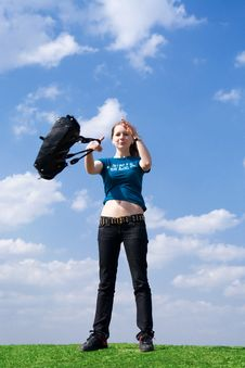 Free The Young Attractive Girl With A Handbag Royalty Free Stock Photos - 4827898
